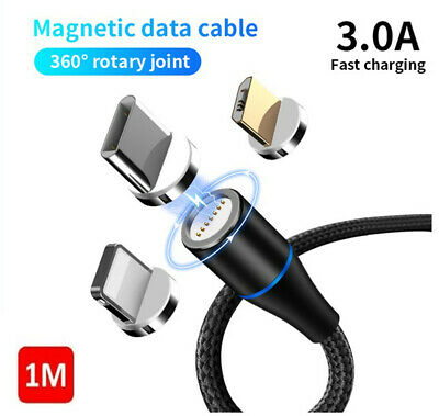 3in1 3A Micro USB Lightning Magnetic Adapter ChargingCable for iOS Android Typec