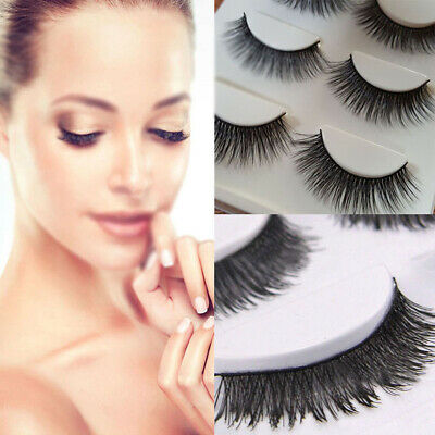 3D Mink False Eyelashes Wispy Cross Long Thick Soft Fake Eye Lashes 5 Pairs New
