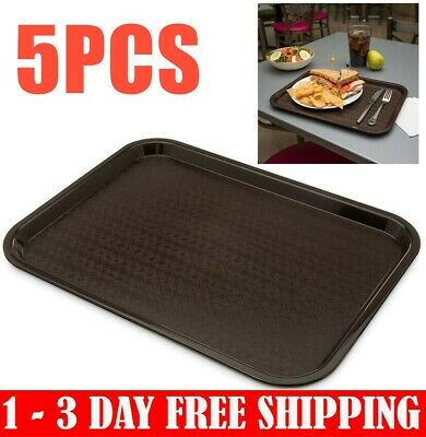 Set of 5 Anti-Slip Plastic Food Serving Tray Cafeteria Tea Cafe Dinner Dish Tray