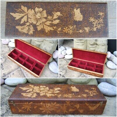 Antique Jewellery Box - Poker-Work Hand Carved Wonderful Interior