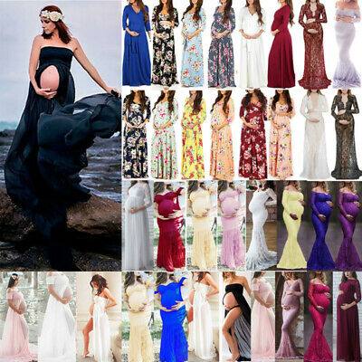 Maternity Pregnant Lace Photography Womens Long Boho Maxi Gown Party Dress Props