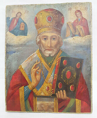 Antique 19th C Russian Hand Painted Wooden Icon of St.Nicholas