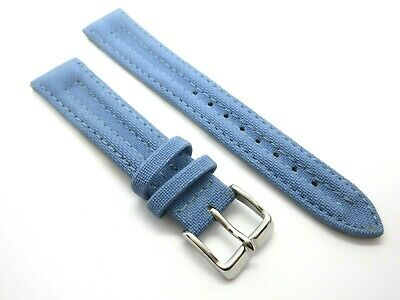 Blue Textured Padded 18mm Watch Strap Band With Silver Buckle