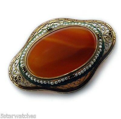 Antique 1920's 14k Gold Natural pearl Enamel Carnelian Large Filigree Brooch Pin