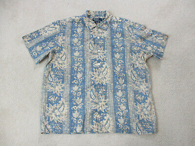 VINTAGE Ralph Lauren Hawaiian Shirt Adult Large Blue Brown Button Up Casual Mens