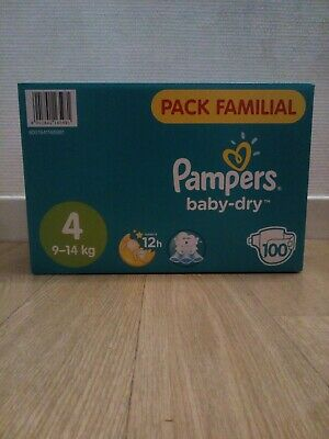 PAMPERS BABY-DRY - Taille 4 (9/14 kg) - 100 couches bébé