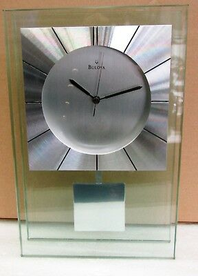 "Bulova Mantel Clock - Mineral Glass Case With Aluminum Accents ""Insight"" B2840"