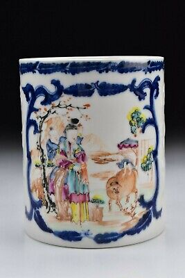 Chinese Export Famille Rose Molded Porcelain Mug w/ Figures 18th Century