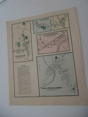VINTAGE  Hand-Colored F W Beers Map Atlas - BERKSHIRES FRANKLIN VERMONT