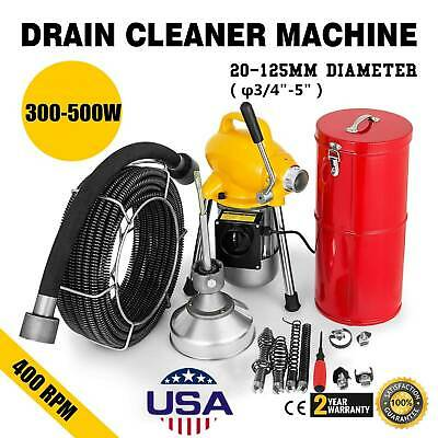 "3/4""-5""Drain Cleaner Sectional Sewer Snake Drain Auger Cleaning Machine 500W US"