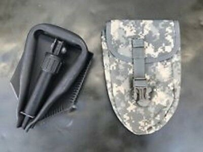 MINT US Army Military AMES Entrenching Folding E-Tool Shovel & Used ACU Cover