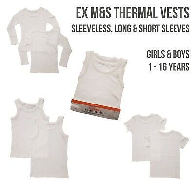 EX M+S Boys Girls THERMAL Vests Short Long Sleeve Sleeveless Underwear Cotton