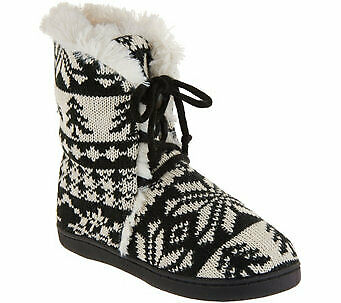 MUK LUKS Julie Lace-Up Slipper Boots with Faux Fur Lining - Size M (7-8)