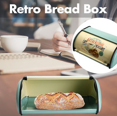 Blue Bread Box Metal Bin Kitchen Container Cake Keeper Food Storage Roll Top Lid