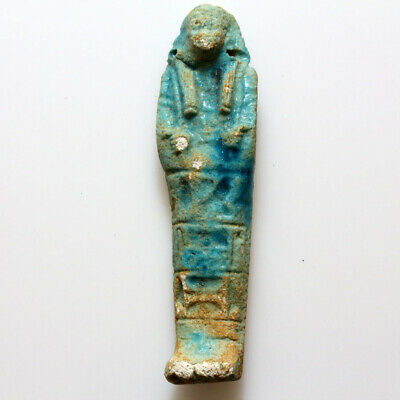 Circa 1000-500 BC Egyptian Colored Faience Shabti Statue Pendant
