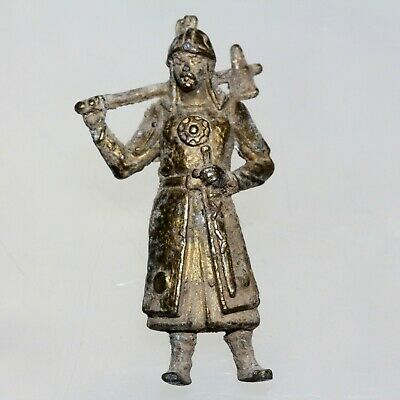 Extremely Unique-Ancient Viking Pewter Gold Plated Soldier Statue Circa 1000 Ad