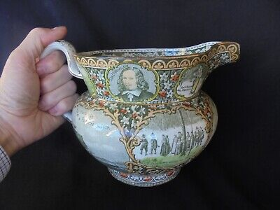 "Antique Rowlands & Marsellus "" American Pilgrims "" Display  Pitcher / Jug - Fine"