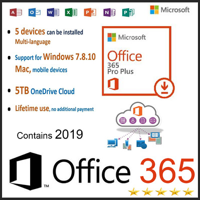 Office 365 Pro 5 PC 5MAC office2019/2016 New Account -Complete