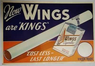 "Wings Red/Blue 18""x12"" Original Cigarette Advert Poster Circa 1930/40"