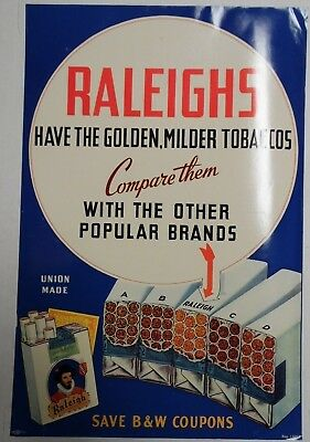 "Raleighs Compare Them 18""x12"" Original Cigarette Advert Poster Circa 1930/40"