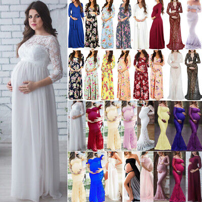 Pregnant Maternity Women Lace Photography Props Stretch Maxi Gown Party Dress