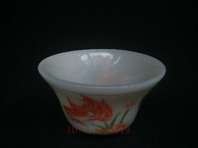 Collection Chinese Old Coloured Glaze Painting Fish Lotus Water Washing Cup Bowl