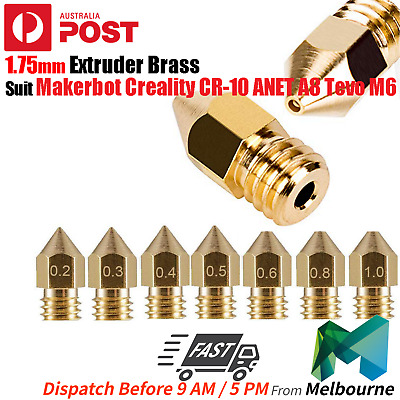 5x 3D Printer 1.75mm Nozzles Suit Creality CR-10 ANET A8 Tevo M6 Extruder Brass