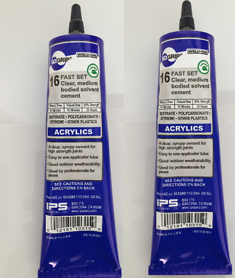 SCIGRIP Weld-On #16 Acrylic /Perspex/ Plastic Clear Glue 146ml Tube USA Made x 2