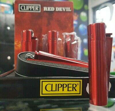 Clipper Flint RED DEVIL Metal Lighters With Metal Gift Tin Case Refillable