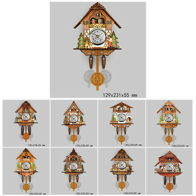 Wooden Cuckoo Time Wall Clock Bell Retro  Antique Pendulum Auto Wall Swing Clock