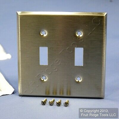 Leviton Stainless Steel 2-Gang Toggle Switch Cover Wall Plate Switchplate 84009