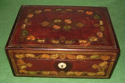 ANTIQUE BOX SUPERB JEWELLERY BOX ROSEWOOD & TOOLED LEATHER VICTORIAN circa 1890