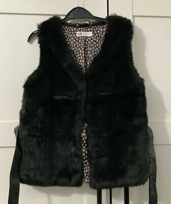 Girls H&M Black Soft Faux Fur Gillet Bodywarmer Age 10-11 Years