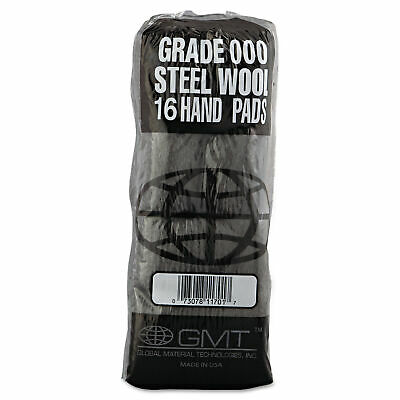 Industrial-Quality Steel Wool Hand Pad, #000 Extra Fine, 16/Pack