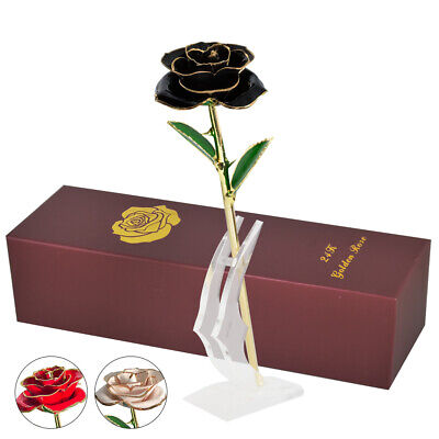 24K Gold Rose Dipped Flower Real Long Stem with Stand Valentine's Day Love Gifts