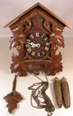 Antique Black Forest German Wall Mt. Cuckoo Clock Parts Ready For Restoration
