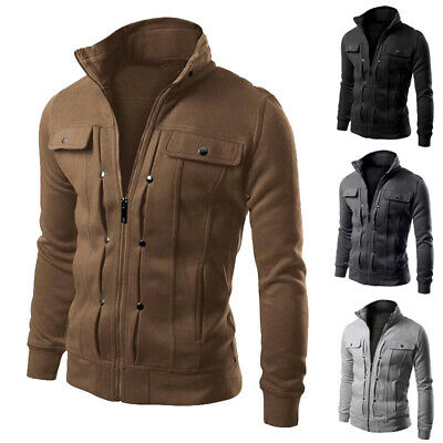 Mens Slim Fit Stand Collar Coat Tops Military Jacket Winter/Outwear Blazer US
