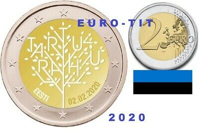 2 €  ESTONIE  1  X  PIECE COMMEMORATIVE   TRAITE DE TARTU   2020      disponible