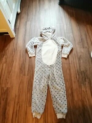 Girls spotted mouse hooded fleece pyjama onsi aged 7-8 years good condition