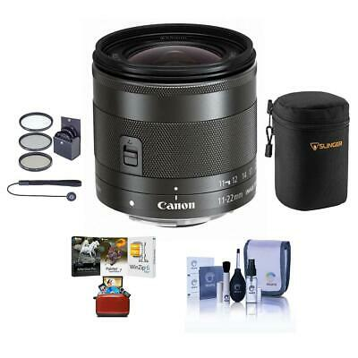 Canon EF-M 11-22mm f/4-5.6 IS STM Lens with Free Basic Accessory Bundle (Mac)