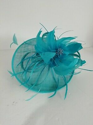 CC COUNTRY CASUALS NEW Turquoise Blue Fascinator Feather Bead Trim Headband MOB