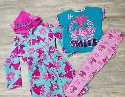 Girls Troll Dressing gown/house Coat And Pyjamas. Age 9-10