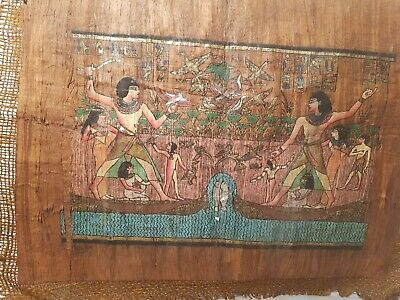 Rare Antique Ancient Egyptian papyrus King Ramses River Boat Hunting1292–1290 BC