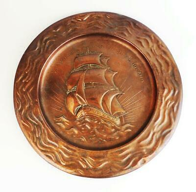 ARTS & CRAFTS COPPER CHARGER c1900 YE WOODEN WALLS OF OLD ENGLAND