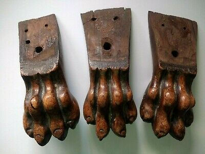 Repair Replacement Parts Antique Furniture - 3 CLAW FEET Hand Carved Hardwood