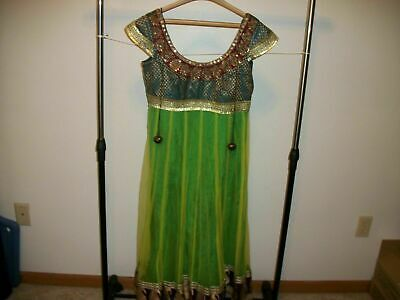 Aabroo Indian India Pakistani Dress M Medium Multi Color Empire Waist Sequins