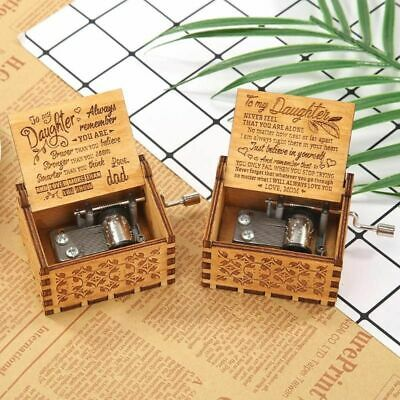 Retro Vintage Music Box Wood Hand Cranked Engraved Birthday Gift Daughter Son