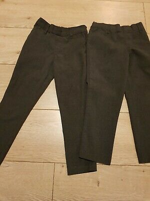 Marks And Spencer Boys Skinny Grey School Trousers 2 pairs size 4-5