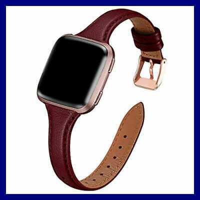 For Fitbit Versa Band Top Grain Leather Slim & Thin Narrow SMALL Replacement Wri