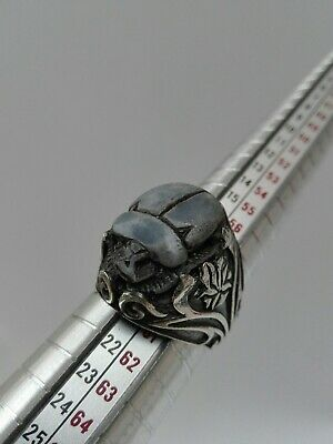 Style Egyptian Ring Beetle Sterling Silver 925 Scarab Carved Men Handmade Blue